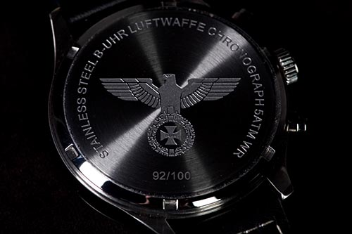 B-UHR LUFTWAFFE flieger chronograph, RED, limited edition back side
